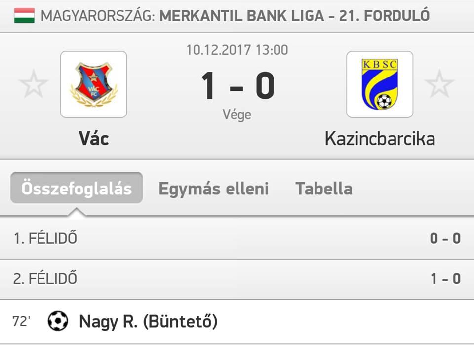 https://kbsc.hu/Vác-Kazincbarcika 1-0